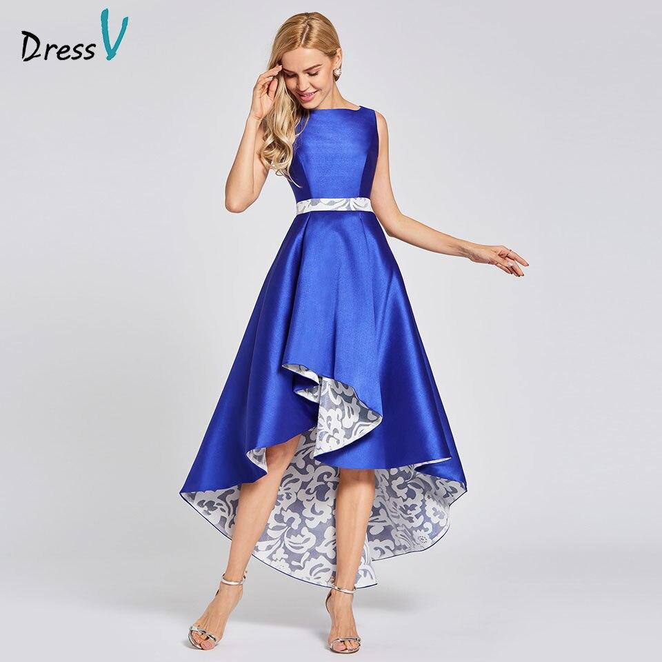 Dressv dark royal blue evening dress cheap scoop neck sleeveless a line wedding party formal dress asymmetry evening dresses