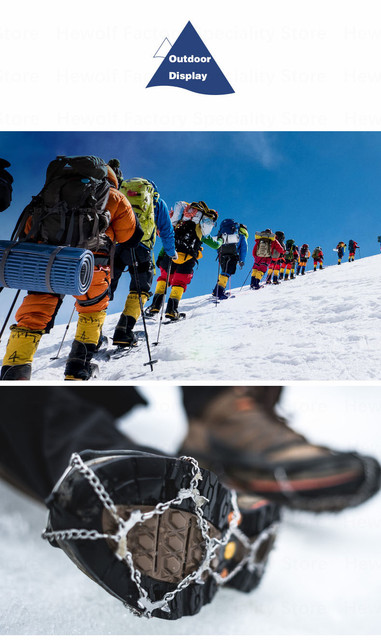 19 Teeth Quality Outdoor Climbing Antiskid Crampons Winter Walk  Ice Fishing Snowshoes Manganese Steel Slip Shoe Covers