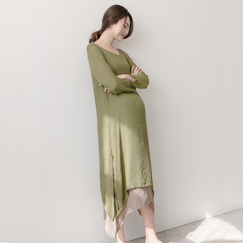 Spring Autumn Women Long Dresses For Pregnant Linen Loose Dress Maternity Clothes Pregnant Maternity Literary Clothing Y776