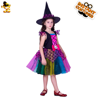 DSPLAY Original Cosplay Clothing New Style Fashionable Children's Neon Witch Girl Sleeveless Dress Halloween Party Girls Sets