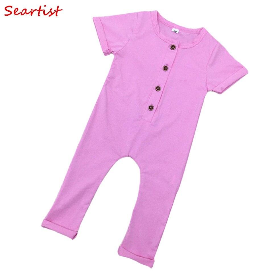 Seartist Baby Boys Girls Summer Romper Gilr Boy Plain Color Jumpsuit Newborn Jumper Kids Rolled Sleeved Pajamas 2018 New 35