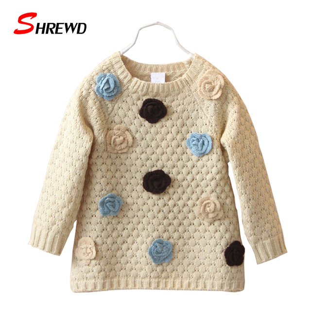 Baby Girl Sweater New 2017 Autumn Fashion Flowers Sweater For Kids Long Sleeve Simple Cute Kids Clothes Girls 4533Z