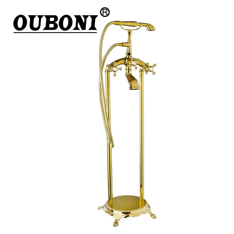 OUBONI Golden Plated Bathroom Shower Set Floor Mount Freestanding Bathtub Filler Bath Tub Faucet