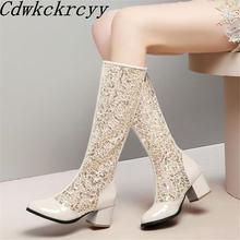 Женские босоножки с кружевом кружевные сетчатые туфли на высоком