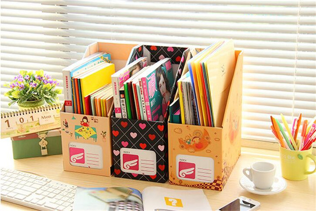 Cardboard Office Desktop Organizer Classification Box Student Books  Multi Function Storage Box Office Supplies