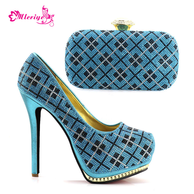 New Arrival Italian Designer Shoes and Bags Matching Set Decorated with Rhinestone Latest Matching Shoes and Bag Set In Heels cd158 1 free shipping hot sale fashion design shoes and matching bag with glitter item in black