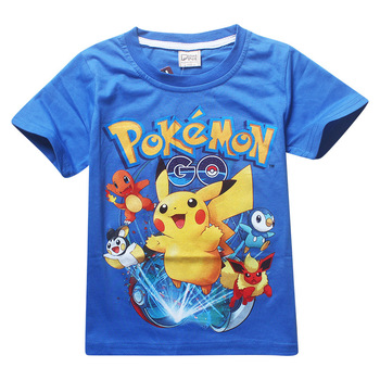 Summer children kids Shorts t-shirts cotton Pokemon Go boys girlls  tops tees pikachu t shirts for 3-9Years baby boys clothes 1