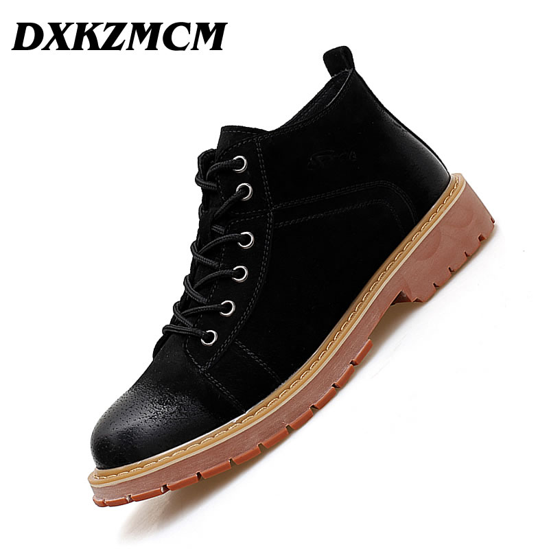 DXKZMCM Genuine Leather Men Ankle Boots Breathable Men Leather Boots Shoes Outdoor Casual Men Winter Shoes men trendy breathable leather casual shoes