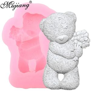 3D Craft Bear Silicone Mold Flower Cake Border Fondant Molds Wedding Cake Decorating Tools Candy Clay Chocolate Gumpaste Mould(China)