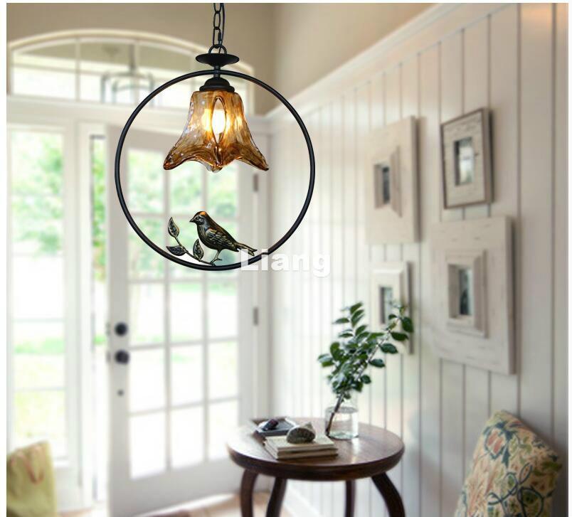 Free Shipping D37cm Nordic Pendant lamp Bohemia Vintage Bird Countryside Pendant Light LED E27 110V220V Decoration Pendant Lamp