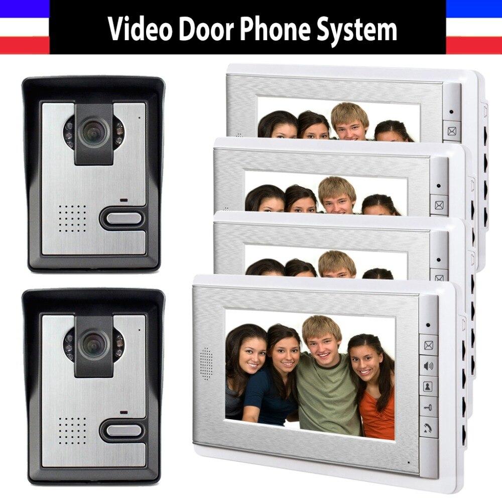 7 Inch Monitor Video Door Phone Intercom Doorbell System Video Interphone IR Night Vision Camera For Villa 4 Monitor 2 Camera