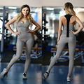 Womens Sexy Beauty Tracksuits Clothing Sets 2 pieces Patchwork workout Bodybuilding Sleeveless Crop Tops and Pants Suits