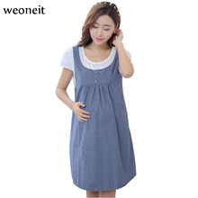 Weoneit New Dresses for Pregnant Women Summer Maternity Brief Dress Casual Short Sleeve Fake 2 Pieces Clothes for Pregnancy(China)
