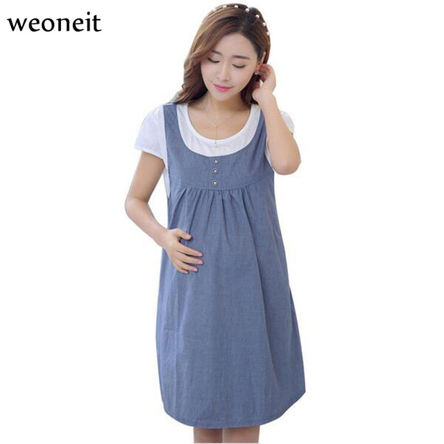2cbad46135b Weoneit New Dresses for Pregnant Women Summer Maternity Brief Dress Casual  Short Sleeve Fake 2 Pieces Clothes for Pregnancy