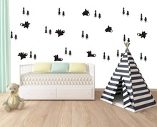 Wall Decal Vinyl Sticker Fox And Trees Set Pattern For Kids Boy Girl Room Decoratiom Living Room Bedroom House Art Design WW-241 недорого