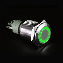 Four Colors 12V 16mm LED Power Push Button Switch Silver Aluminum Metal Latching Type for Car/ Motor Happy Gifts High Quality