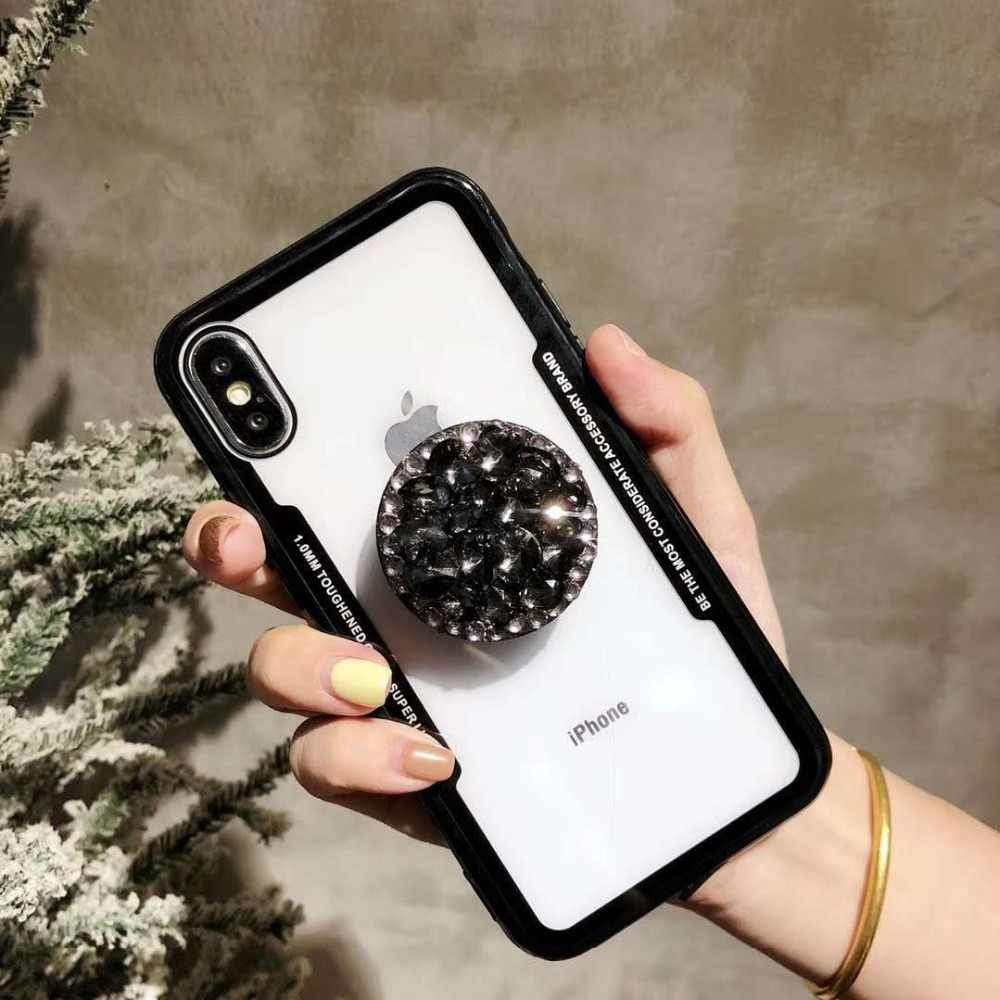 ... NEW Glitter Jewelled Air Bag Cell phone Bracket Acrylic Case For iPhone  Xs XR Xs Max f2518f7cb684