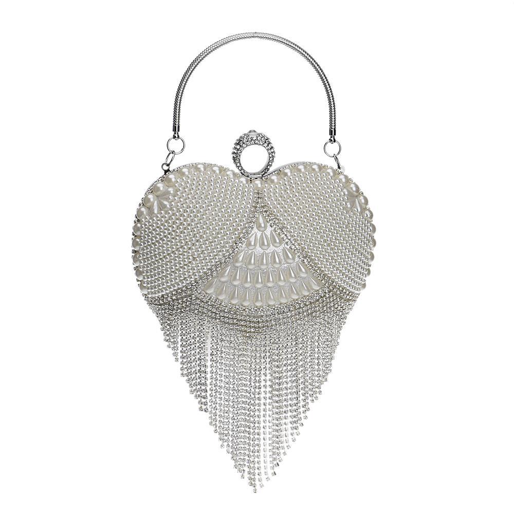 Tassel Rhinestones Evening Bag Finger Ring Diamonds Wedding Heart Day Clutch Handbags Chain Shoulder Party Pearl Christmas Gift