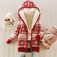 Women thick Fleece Knitted Hooded Cardigans snowflake Crocheted Sweaters Coat Slim Long Sleeved Thickening Velvet Winter Tops