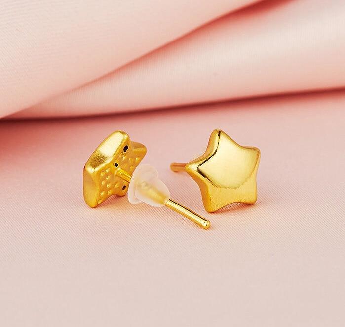 fe4708b96275 Pure 999 24 K oro amarillo Pendientes tallado precioso cinco estrellas  pendiente Stud 1.92G
