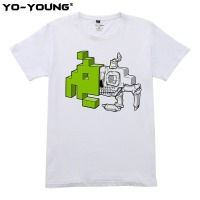 Yo Young Summer Men T Shirts Space Invader Anatomy Design Digtal Printed 100 180g Combed Cotton