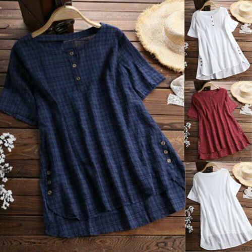女性の夏の半袖ブラウス女性の女性の綿リネンブラウス女性カジュアルシャツ Blusa Feminina プラスサイズ S-5XL トップス