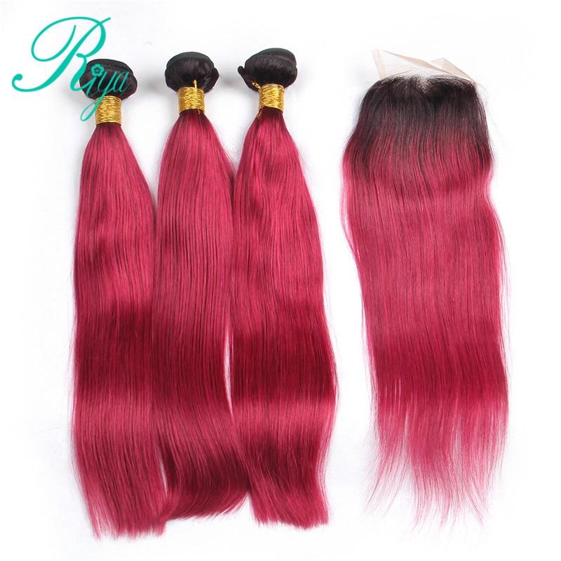 Riya Hair 1B/Burgundy Red Ombre Peruvian Remy Hair Straight Hair 3/4 Bundles With 4*4 Lace Closure Pre Colored Human Hair