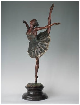 Bronze Copper sculpture Ballet  statue collection process Swan dance art gift  home decoration JD-053