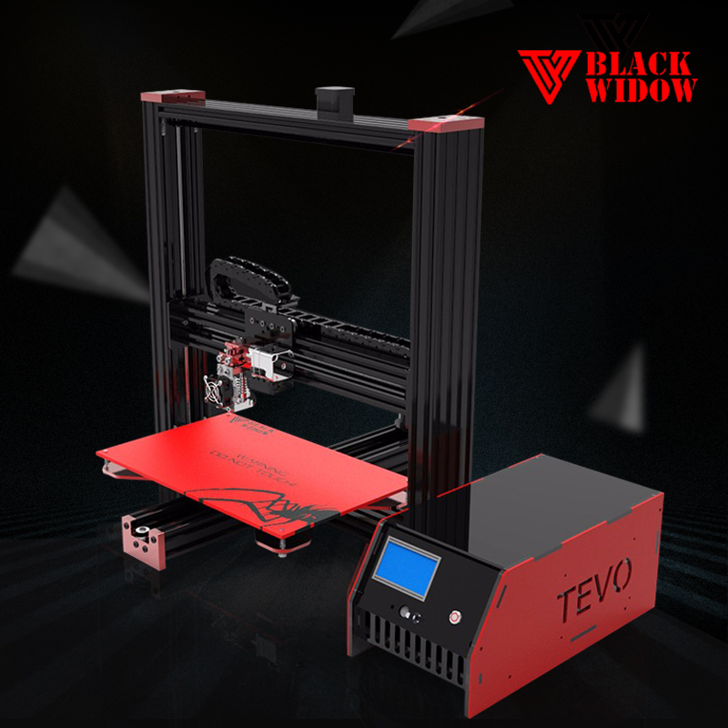 2017 Imprimante 3D Printer TEVO Black Widow 3D Printer Diy Large Printing Area OpenBuild Aluminium Extrusion Free MKS Mosfet 2016 extra large 3d printer with 400x400x470mm building envelope