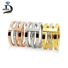 Wholesale 2016 Three Layers Zircon Stainless Steel Titanium Ring For Men Women CZ Crystal ring Band Jewelry Custom Accessories