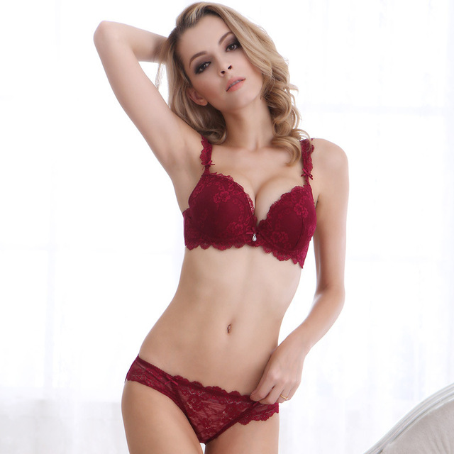 eb202f4234 Free shipping New Europe Girl sexy lace bra set gather adjustable underwear  sets for women thick Cup A B C Cup