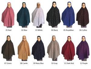 Image 2 - Kadınlar için müslüman namaz elbise uzun eşarp Khimar başörtüsü İslam büyük havai elbise namaz konfeksiyon şapka Niquabs baskılı Amira hicap