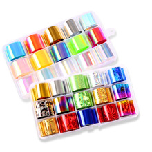 Holographic Nail Foil Set Fashion 10pcs/box Transparent Colorful  Diamond Transfer Sticker Manicure Art Decals