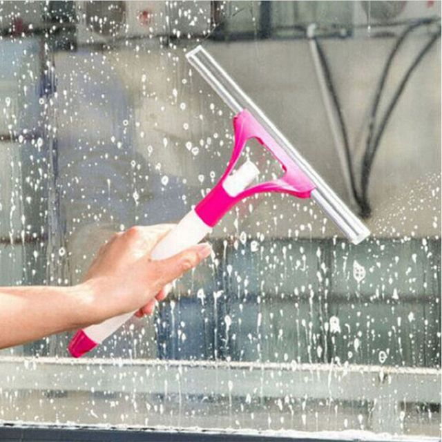 Random Color Spray Window Glass Brush Wiper Cleaner Washing Scraper Home Bathroom Car Window Cleaning Tool 1