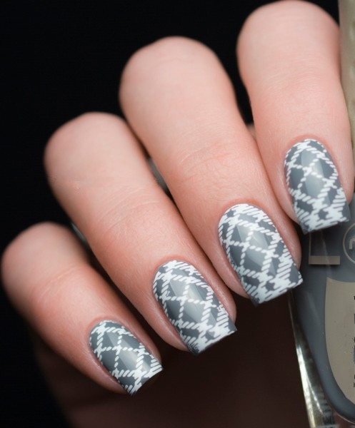 BORN PRETTY Checked Design Rectangle Nail Stamping Template Manicure Nail Art Stamp Image Plate