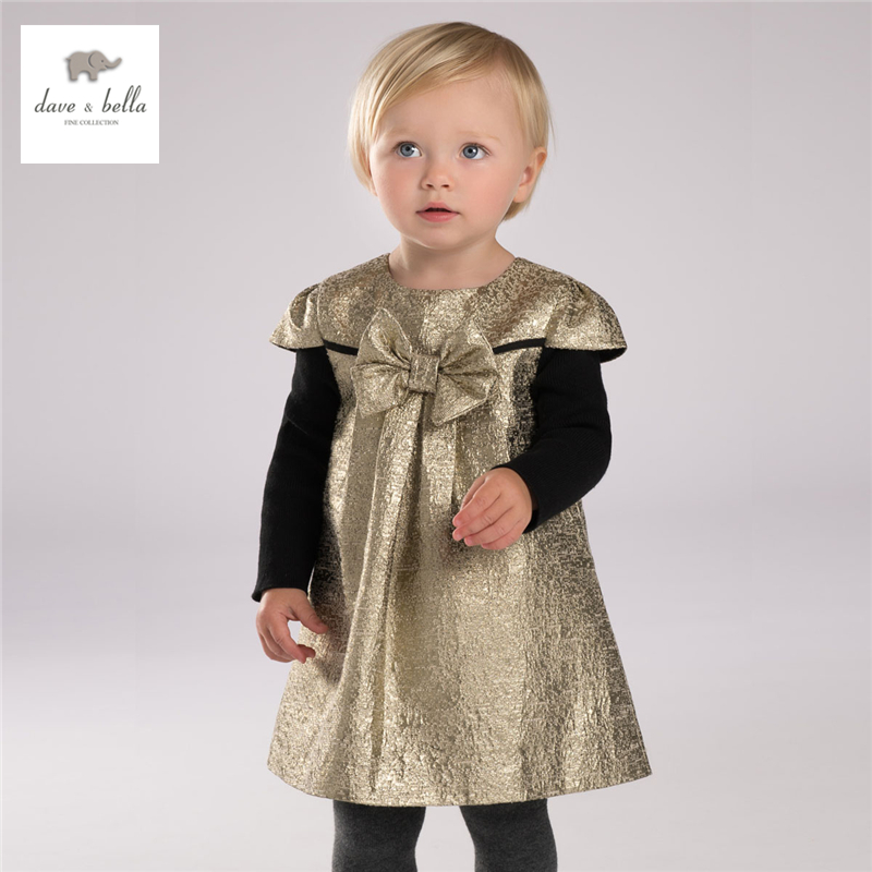 ФОТО DB4001 dave bella autumn girls golden big bow dress girls birthday dress