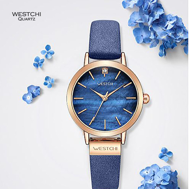 WESTCHI Women Elegant Blue Quartz Watch Fashion Leather Strap Ladies Watches Female Clock Montre Femme Relogio Masculino