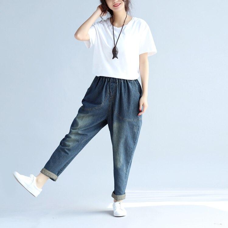 2019 Estate Nuove Donne Di Jeans Più Il Formato Slacciano Harem Pantaloni Casuali Del Denim Femminile Di Strada Di Usura Di Alta Qualità