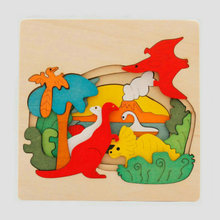 лучшая цена Kids' Wooden Puzzle Toy Classic with Cartoon 3D Animal Pattern Baby wood puzzles toy Dolphins Dinosaurs Educational puzzle gift