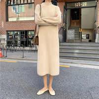 2019 Long Sleeve Sweater Dress O Neck Casual Irregular Hem Winter Clothes Women Loose Pullover Kardigany Damskie Wy*