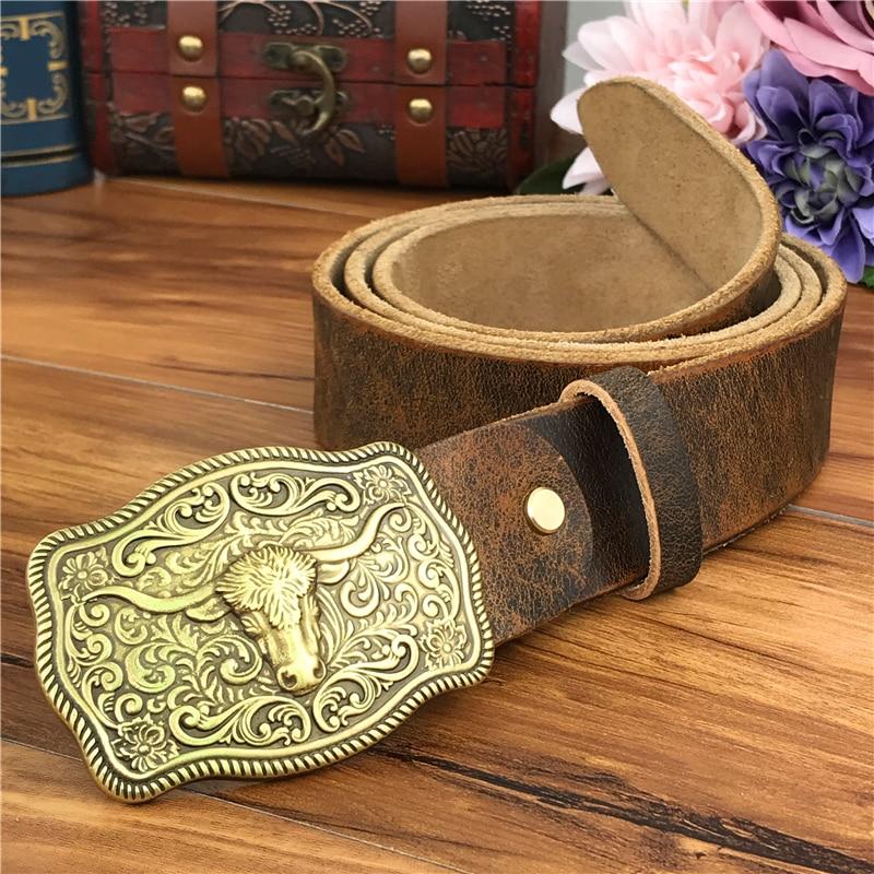 Brass Cowboy Belt Buckle Luxury Men Leather Belt Ceinture Homme Yellow Belts For Men Wide Male Strap Jeans Waist MBT0537