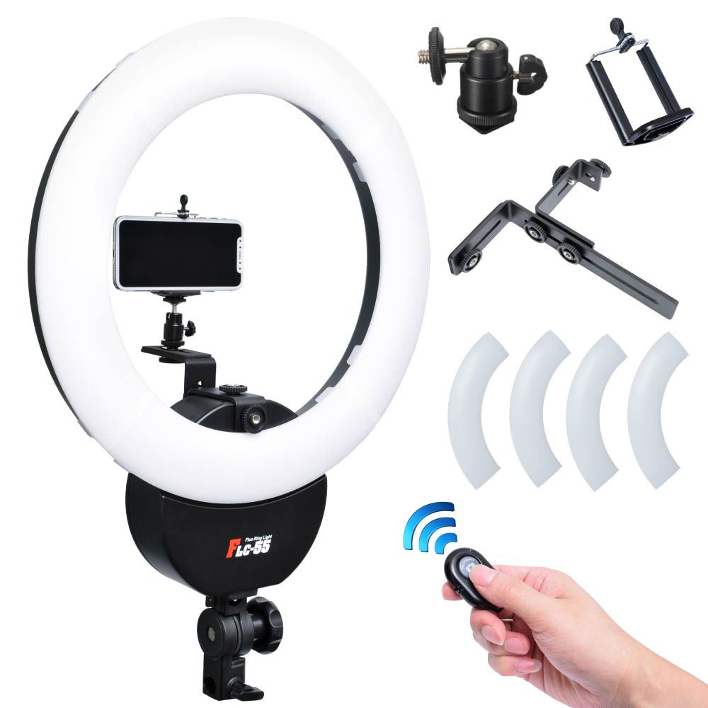 Falconeyes FLC-55 55W 1642cm 5600K Ring Light with Camera Phone Clamp Bluetoothe for Portrait Make Up Video Photo Selfie