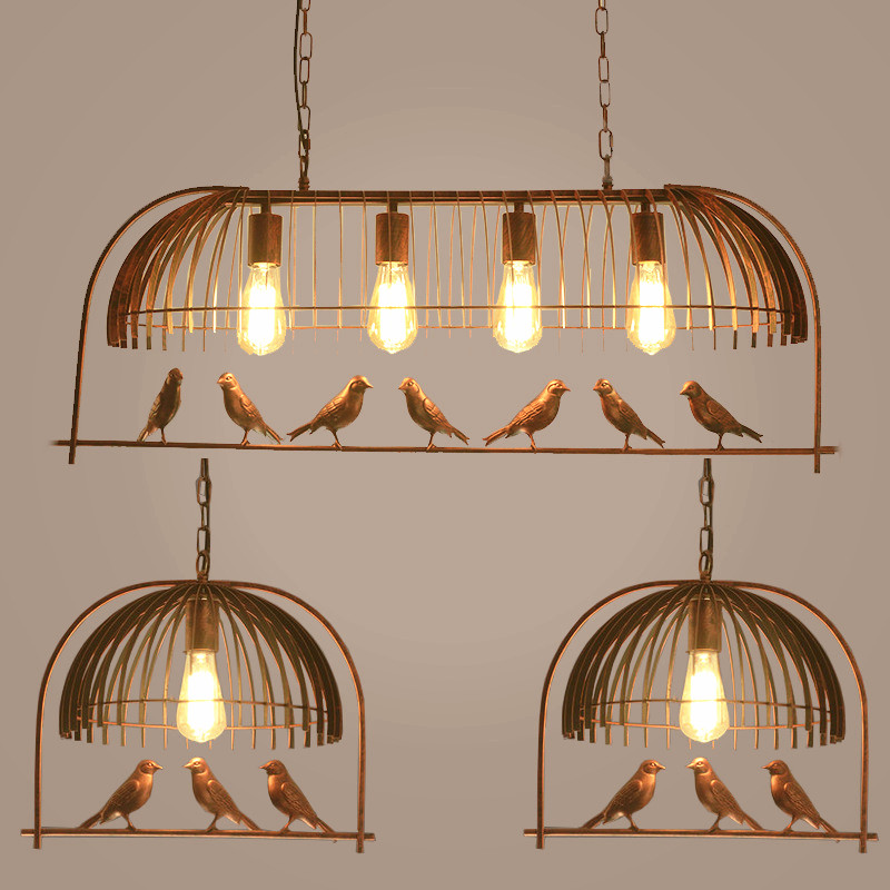 Restaurant wrought iron personality simple decorative chandelier American retro bird balcony chandelier E27 AC110V 220V 230V indoor lighting bird cage restaurant cafe bar desk study chandelier retro bird balcony chandelier