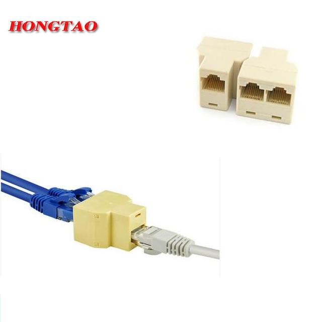 RJ-45 SOCKET RJ45 Splitter Connector CAT5 CAT6 LAN Ethernet Splitter Adapter 8P8C Network modular plug PC laptop cable contact