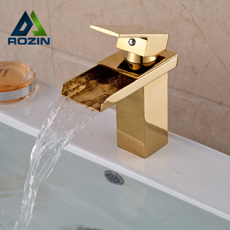 ФОТО Golden Brass Waterfall Bathroom Vessel Sink Mixer Faucet Single Handle Water Taps with Hot Cold Water
