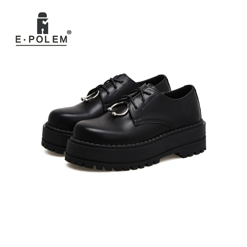 Casual British Style Vintage Thick Soles Leather Shoes Retro Female Harajuku Lace Up Flat Platform Shoes College Creepers ladies shoes 2018 spring british style multicolor leather shoes square head slope thick soles shoes fashion fit flat shoes
