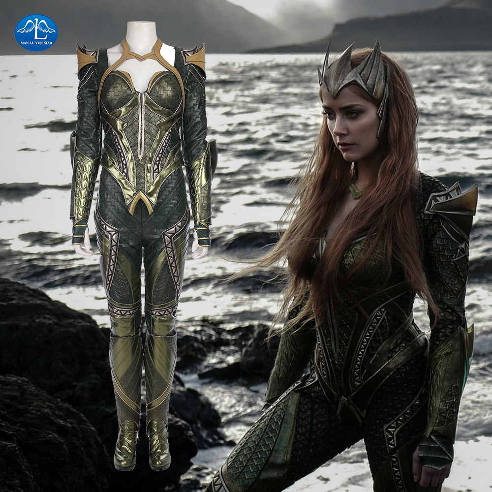 New Women's Justice League Cosplay Costume Mera Costume Halloween Carnival Cosplay Costume For Women Full Set Custom Made