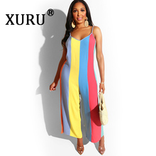 XURU new hot sale loose large size womens wide leg straps jumpsuit summer fashion sexy striped print