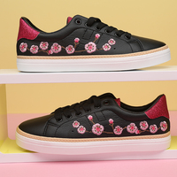 Fashion Women Sneakers Summer Casual Shoes Flower Canvas Trainers Round Toe Lace Up Flats Skateboard Shoes