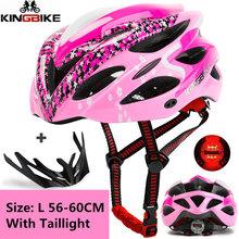 KINGBIKE kask rowerowy osłona przeciwsłoneczna mężczyźni kobiety rower kask tylne światło Mountain Road Bike Casco Integrally Formowane rowerowe kaski tanie tanio Lekki hełm ROWER KINGBIKE 20 Osoby dorosłe Mężczyzn J-629 w Około 237g cycling helmet bicycle helmet bike helmet